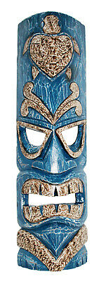 TIKI Mask Wooden Wall Plaque 50cm Hand Carved Painted SURFER/ MAORI STYLE BLUE • 19.97£