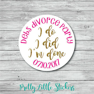 50 X Personalised Divorce Party Stickers //any Text\ • 4£