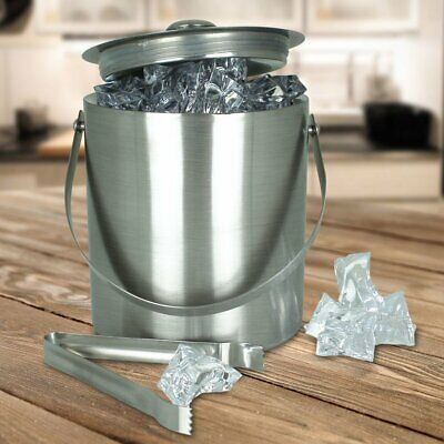 Large Double Walled Stainless Steel Insulated Ice Bucket With Tongs & Lid 2L • 13.95£