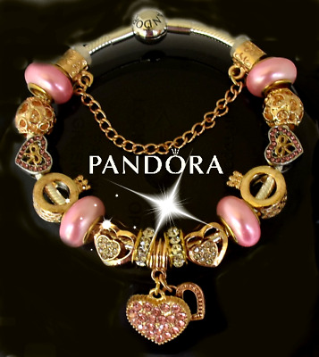 6cd2ba5e3 AUTHENTIC PANDORA Charm Bracelet Silver Pink Gold With European Charms  Heart • 85.00$