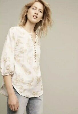 $ CDN40.90 • Buy Anthropologie Floreat Atley Embroidered Top White Tan Size Small