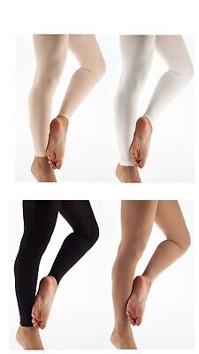 Girls Ladies Footless Tights Super Soft Microfiber Matte Opaque Dance Tight • 6.25£