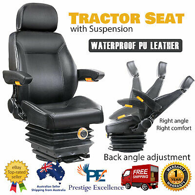 AU426.90 • Buy Suspension Tractor Seat Forklift Excavator Truck Adjustable PU Leather Black NEW