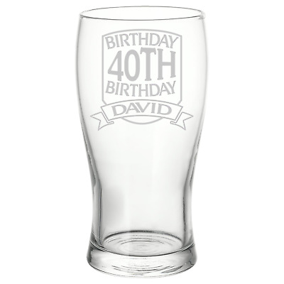 Personalised Birthday Shield Logo Pint Glass 21st 30th 40th 50th Gift Idea  • 8.50£