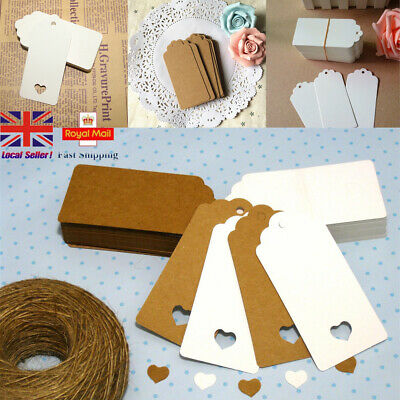 50/100 Kraft Paper Card Gift Tags Scallop Label Wedding Blank + Strings UK STOCK • 2.96£