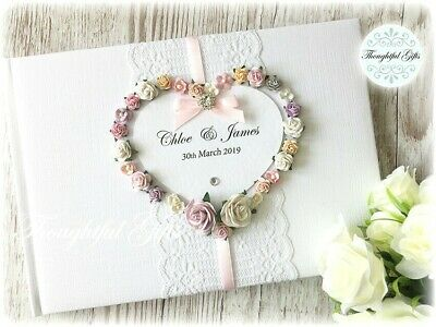 💖Luxury Personalised Wedding Guest Book Floral Heart/ Lace/ Diamante-All Colour • 23.99£