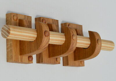 WOODEN CURTAIN POLE BRACKETS HOLDERS CURTAIN ROD SOLID OAK SOLD IN 2s OR 3s  • 17.95£