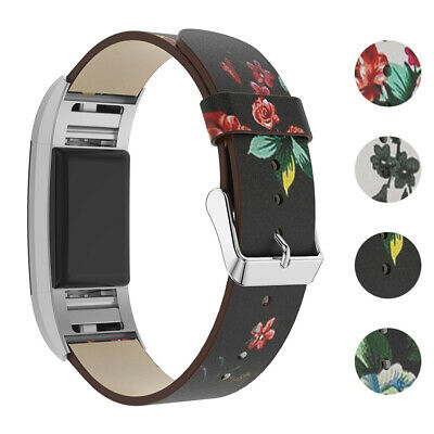 AU29.38 • Buy StrapsCo Leather Watch Band Strap With Peony Floral Pattern For Fitbit Charge 2