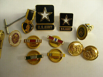 $16 • Buy VINTAGE LOT 12 WWII ARMY PINS BUTTONS INCLUDING 3 MILITARY ORDER PURPLE Of HEART