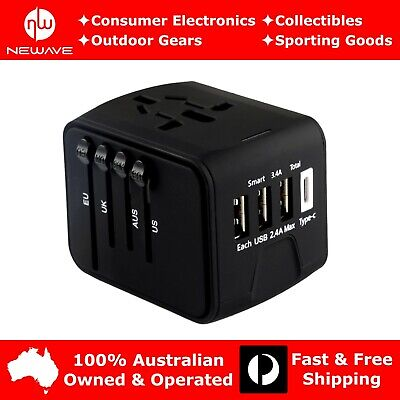 AU28.79 • Buy NEWAVE Smart Universal International Travel Adapter 3.4A 3 USB+Type C Charger Bk