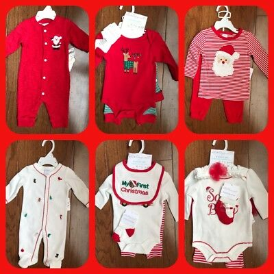 NWT Starting Out Infant Christmas Outfits Santa's Baby Reindeer My 1st Bear Red • 10.72£
