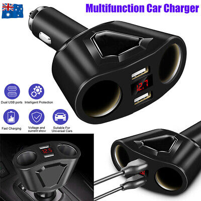 AU13.90 • Buy LCD Car Dual USB Charger Cigarette Lighter Socket Splitter 12-24V Power Adapter