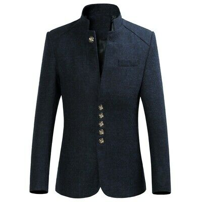 $52.19 • Buy Mens Chinese Tunic Suit Stand Collar Blazer Jackets Formal Slim Fit Coats Casual