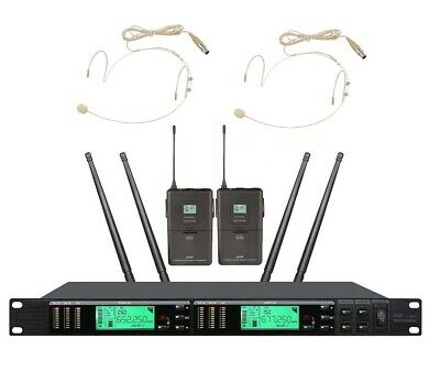 Wireless Microphone System Pro UHF Cordless Mic Set With 2 Headset  2 Bodypack • 176.19£