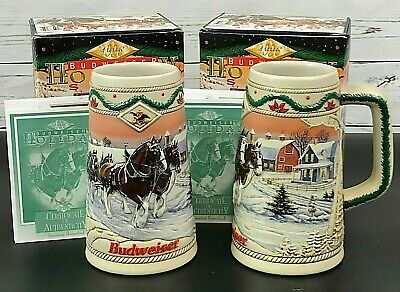 $ CDN30.17 • Buy SET OF 2 Budweiser Anheuser Busch Holiday Clydesdale Steins 1996 NEW In Box