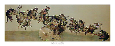 £90 • Buy All Eight Louis Wain Prints For £90 Cats, 8 Cat Prints Picture