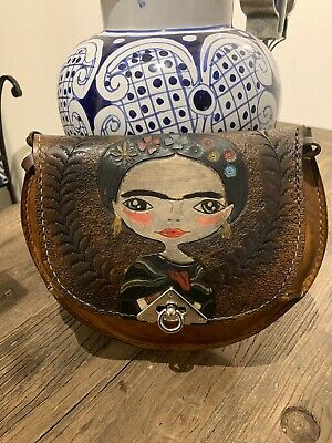 $47.99 • Buy Hand Painted Frida Kahlo Leather Crossbody Bag