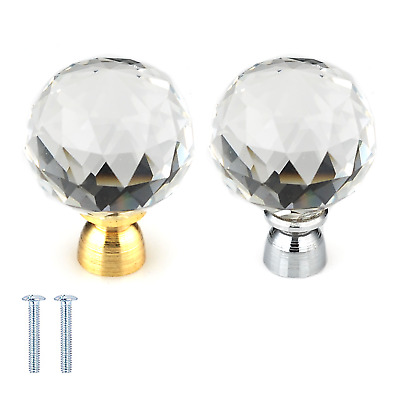 Clear Crystal Diamond Glass Door Knobs Cupboard Drawer Furniture Handle Cabinet • 1.99£