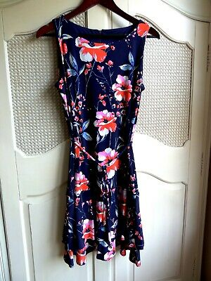 $ CDN24.11 • Buy Ivanka Trump Women Navy Blue With Floral Print Swing Sleeveless Dress Size S (4)