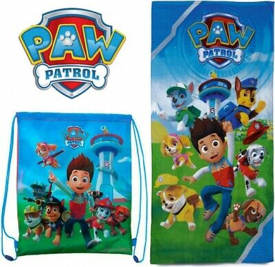 Official PAW Patrol Cotton Beach Towel & Gym Bag Set Gift Kids Swimming • 10.95£