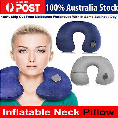 AU14.40 • Buy LUXURIOUS INFLATABLE TRAVEL NECK PILLOW - Soft FLIGHT REST/SUPPORT CUSHION HEAD
