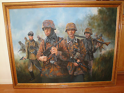 $950 • Buy Framed Art Paint  Ww2 German Panzer Grenadiers In Action  53 X 41 With Frame.