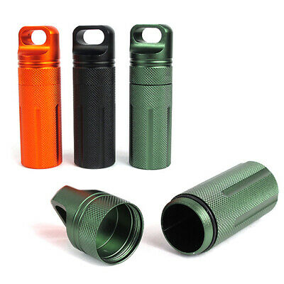 $7.59 • Buy Metal Bottle Holder Waterproof Container Keychain Medicine Capsule Pill Box Case
