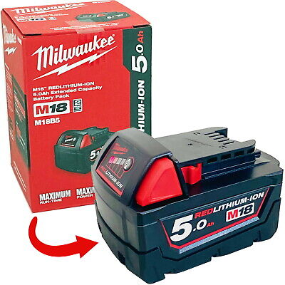 AU114.90 • Buy Genuine Milwaukee 18V 5.0Ah Red Li-Ion Lithium-Ion Battery M18B5 2020 Stock