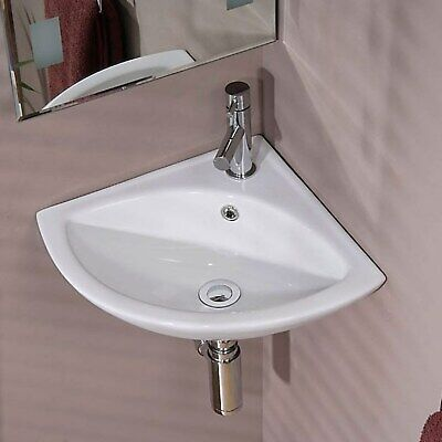 Wall Mounted Corner Cloakroom Basin White Ceramic 1 Tap Hole Bathroom Sink • 51.97£