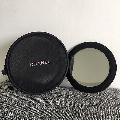 *New CHANEL BEAUTE Black Mesh Makeup Cosmetic Bag With Mirror • 35.50£