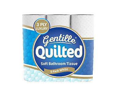 Gentille Quilted 3 Ply White Soft Toilet Roll Toilet Tissues • 19.90£