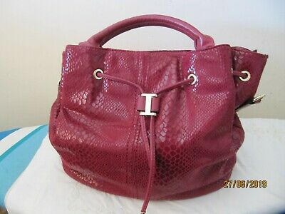 Tom & Eva Bag Large Deep Red Shoulder Cross Body Tote Faux  Snake  Suede  NWT • 25£