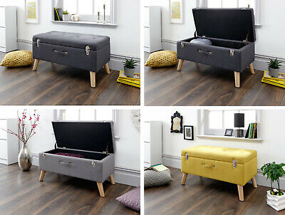 Minstrel Charcoal, Grey Or Mustard Ottoman Storage Bench With Scandi Style Legs • 129.95£