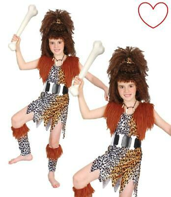 Kids Costume Cave Girl Stone Age Book Day Fancy Dress • 14.99£