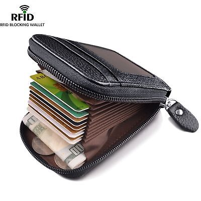 AU13.95 • Buy Men's Wallet Genuine Leather Credit Card Holder RFID Blocking Zipper Thin*Pocket