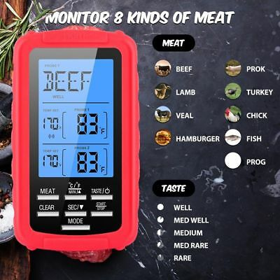 Digital 2 Probe Food Thermometer For BBQ Electronic Cooking Food Probe Meat Temp • 25.13$