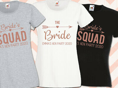 £7.95 • Buy Bride Squad Hen T Shirt Rose Gold Bridal Party Personalised Hen Do Top