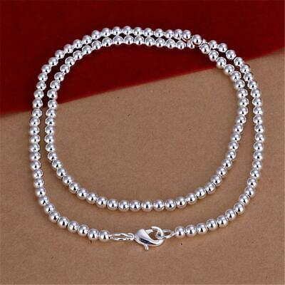 *UK Shop* 925 SILVER PLT SIMPLE BEADED CHAIN NECKLACE 20  4MM BEADS BALL CHARM • 4.79£