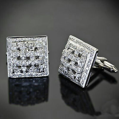 $180 • Buy 925 Sterling Silver Cuff Links Men's Jewelry Handmade Checkered Square Gift