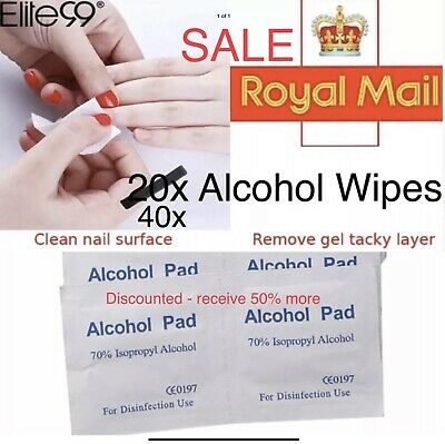 Alcohol Gel Nail Cleanser Wipes 20x Cleaning Sterilize Pad Wraps Sticky Removal • 2.50£