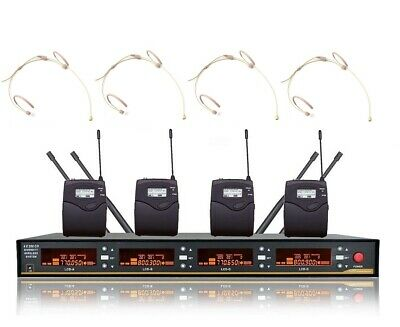 4 Channel Professional UHF Headset Wireless Microphone System Cordless Mic Set • 232.80£