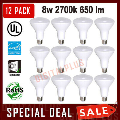 $22 • Buy 12 BR30 Flood LED Light Bulbs 8w = 65w Replacement Soft White 2700k E26 Dimmable