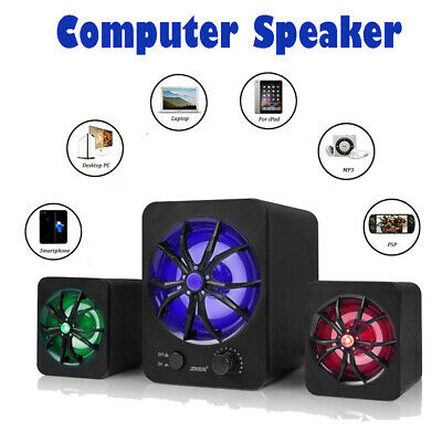 USB Wired Colorful LED Computer Speakers Stereo Super Bass Music For Laptop PC • 12.76£