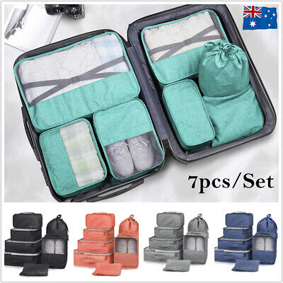 AU23.50 • Buy Set Travel Storage Bags Clothes Organizer Packing Cubes Pouches Luggage Suitcase
