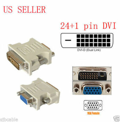 AU11.31 • Buy DVI-D 24+1 25 Pin Male To VGA 15 Pin SVGA Female Video Monitor Adapter Converter