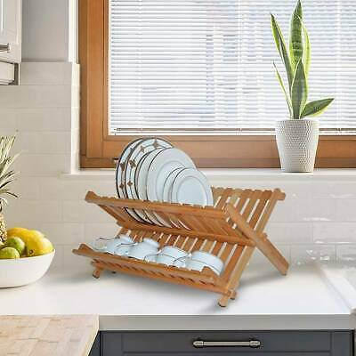 Bamboo Dish Drainer Rack Wooden Plates Mugs Rack Stand Holder 2-Tier Folding • 10.99£