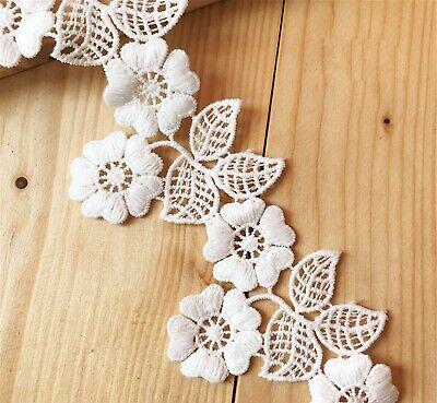 £2.99 • Buy Evening Bridal Dress Lace Edging Embroidery Guipure Flowers Plant Costume Ribbon
