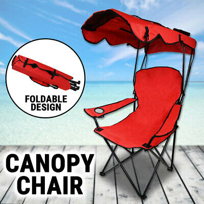 AU41.75 • Buy Canopy Chair Foldable W/ Sun Shade Beach Camping Folding Outdoor Fishing Red