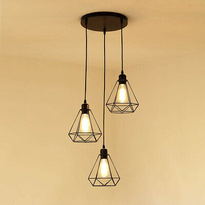£37.88 • Buy Modern 3 Way Ceiling Pendant Cluster Light Fitting Bird Cage Style Lights Black