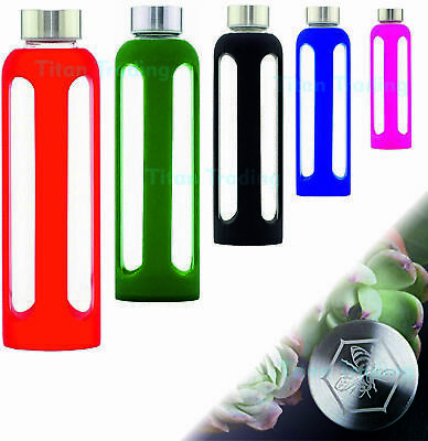 GLASS Drinking GYM Water Bottle 500ml Drink Sports Insulate Silicone Sleeve BPA • 8.99£